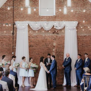 Couple getting married at Chapel Hill venue, Warehouse Wedding Venue and Back Bar space at Chapel Hill Brewery, Top of the Hill
