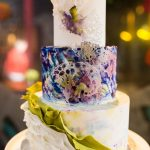 Watercolor tiered unique wedding cake by Pastry Works in Raleigh, Robin Lin