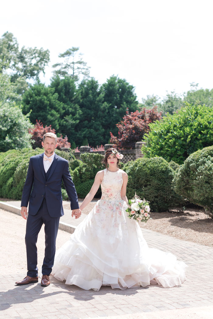Southern Bride and Groom Magazine Editorial Photo Bride in Floral Tre Bella Wedding Gown with Bernards Formal Wear