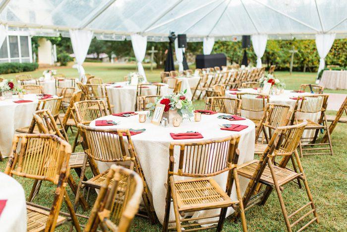 Outdoor wedding reception under tents at Het Landhuis in Pittsboro