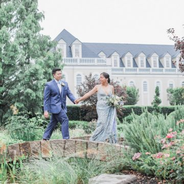 Bride and Groom at Hall and Gardens at Landmark wedding, a Raleigh venue, Madeleine Collins