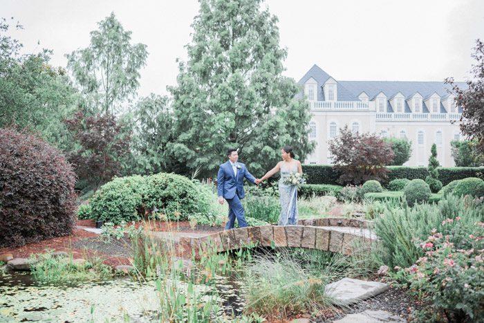 Raleigh Garden Wedding Venue Hall and GArden at Landmark Wedding, Copper and Blue Wedding Reception Inspo for Tablescape, Madeleine Collins