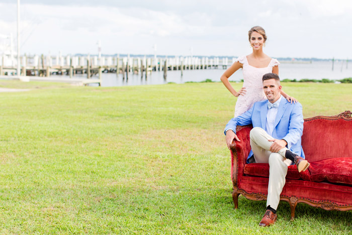 Couple at River Forest Manor and Marina for Pre Wedding Celebration, Magnolia Photography