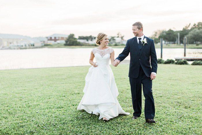 Beaufort NC Wedding Bride and Groom Essense of Australia Dress Common Dove Photography