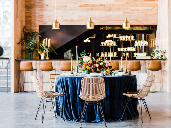 Offbeat Fall Wedding Inspiration in navy and gold at Industrial Raleigh Wedding Venue Whitaker and Atlantic