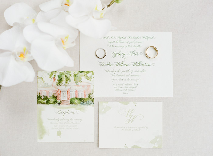 Invitation Suite with Private Home Wedding Watercolor Casey Rose Photography