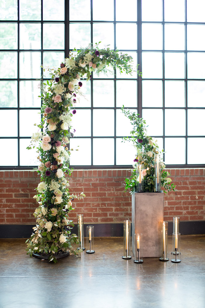 Asymmetrical Floral Wedding Arch in Neutral Colors by Raleigh Florist Eclectic Sage at The Cookery