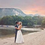 Rumbling Bald Resort Mountain Lake Views of NC Bride Groom Sunset Inspired Life Asheville Photography