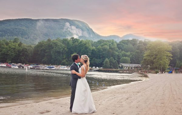 Rumbling Bald Resort Mountain Lake Views of NC Bride Groom Sunset Inspired Life Asheville Photography
