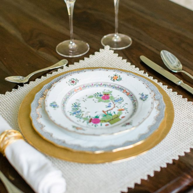 Mix and Match Fine China Bernardaud Dune gold charger Herend Grey Fish Scale Dinner plate Herend Indian basket from Bailey's Alaina Ronquillo