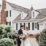 Bride and Groom Wedding Portrait at The Sutherland Historic Wedding Venue with Spring Bouquet Jillian knight