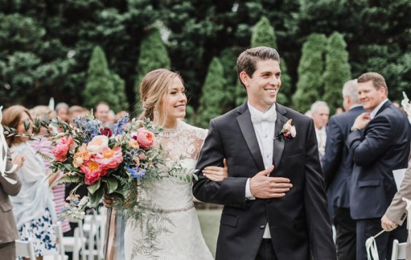 Bride and Groom Exit Outdoor Wedding Ceremony in Spring at the Sutherland Garden Bouquet Jillian Knight