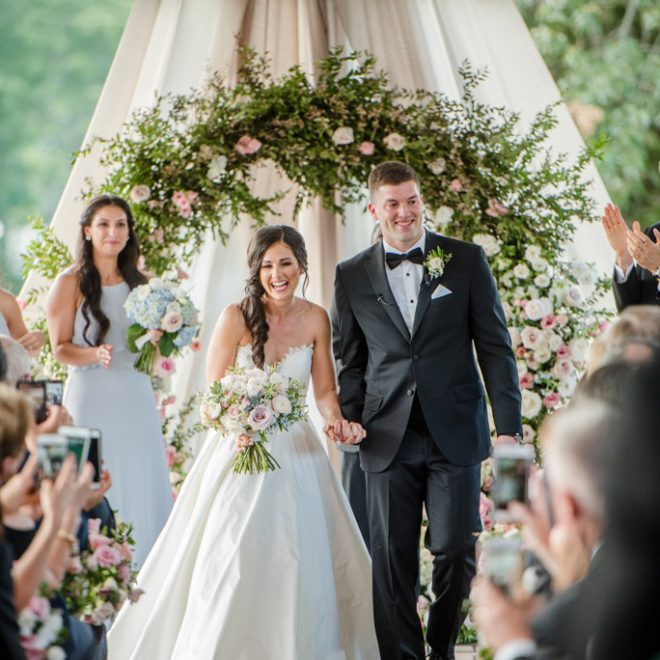 Newlyweds Exit Outdoor Wedding Ceremony as Husband and Wife