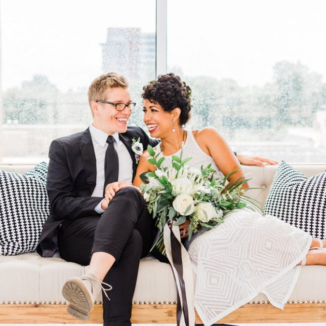 Black and White Accent Pillows with Bride and Groom on Luxury Furniture at The Glass Box Robinson