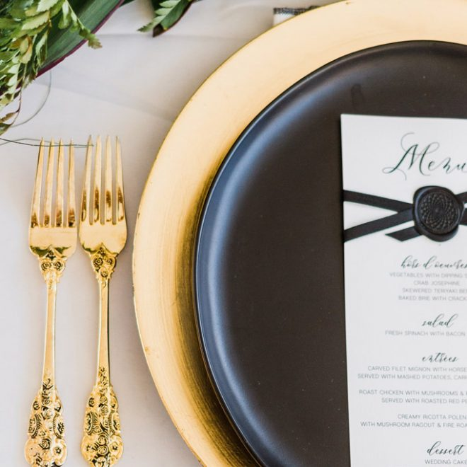 Gold Charger Under Black Dinner Table Plate Modern Dish ware Wedding Planning Inspiration Photo Robinson