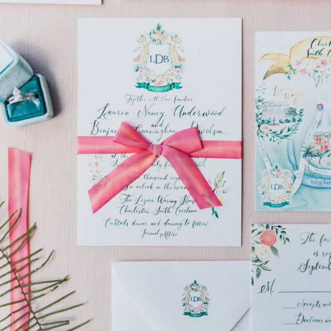 Southern Preppy Pink Watercolor Charleston Wedding Invitation Suite and Stationery by Blush & Blue Designs Robinson