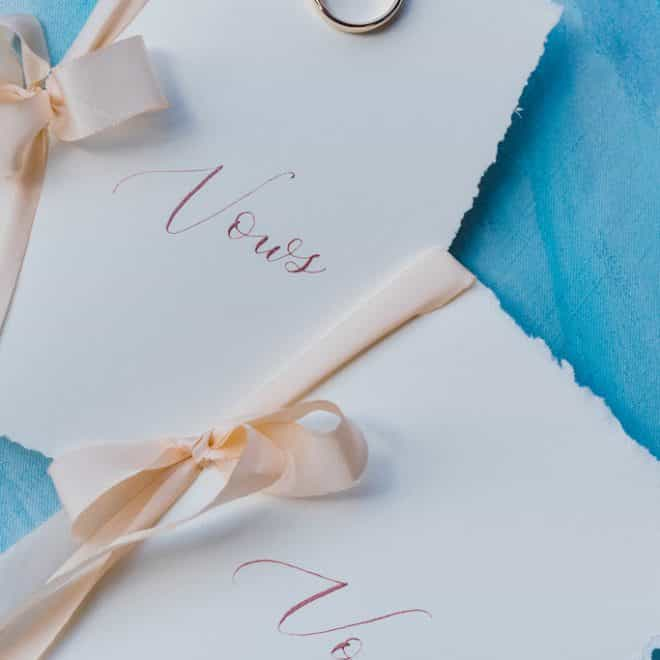Dainty Vow Books Printed Textured Paper Cream Ribbons Engagement Rings Blush & Blue Designs Wedding Invitation Robinson