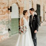 Romantic Wedding Portraits of Bride Groom Blush Florals Belt Line Station The Cotton Room in Durham, NC Caddell