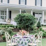 Lavender and Green Table Linens White Rustic Chairs French Outdoor Garden Walnut Hill NC Wedding Reception Skubic