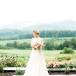 Bridal Portrait in NC Mountains Greenery Bouquet Sammie B Photography