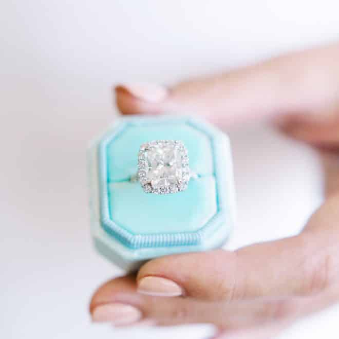 Diamond Engagement Ring from Bailey's Fine Jewelry in Bright Tiffany Blue Box Raleigh NC Danielle Flake