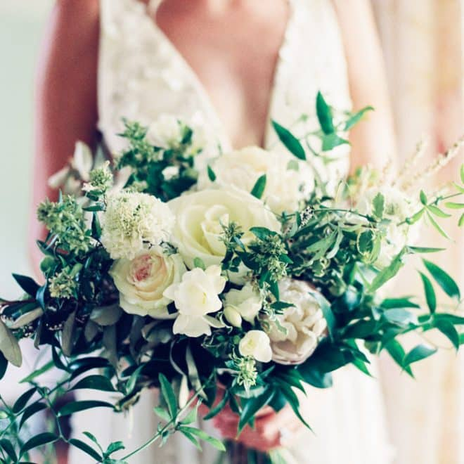 White Green Watered Garden Florist Bridal Bouquet Alexandra Grecco Gilded Bridal Most Beautiful Wedding Dresses Raleigh Flake