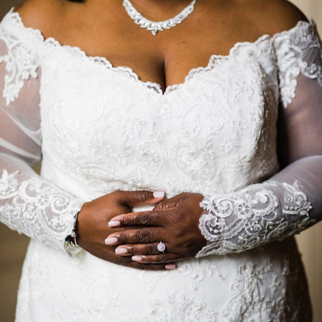 Bride in Beautiful Lace Wedding Dress Off the Shoulder Detail Shot Prestonwood Country Club Venue Cary Images by Amber