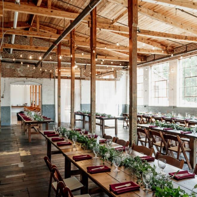 Wedding Reception Tables Forest Hall at Chatham Mills NC Wedding Venue Morgan Caddell Photography