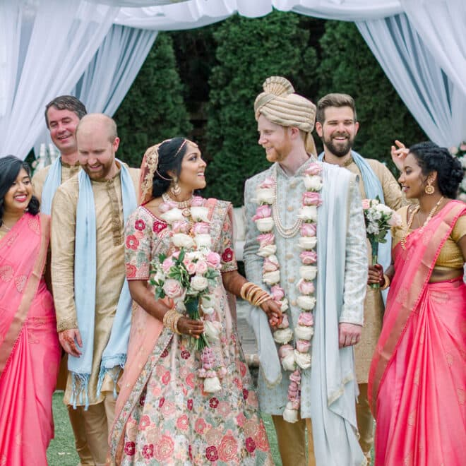 Beautiful Bride and Groom Indian Fusion Wedding Planned by K Scott Weddings Rebekah and Grace