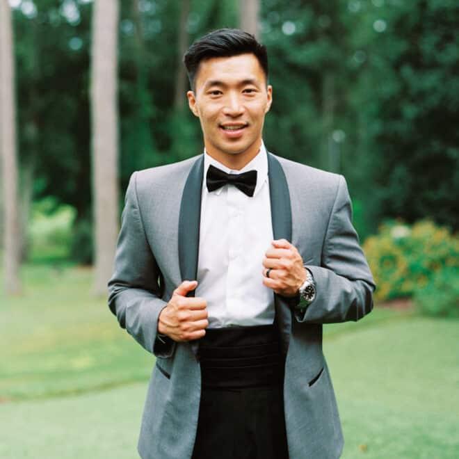 Grey Tuxedo Bernards Formalwear NC Wedding Dress and Fashion Photo Shoot in Raleigh Blissmore