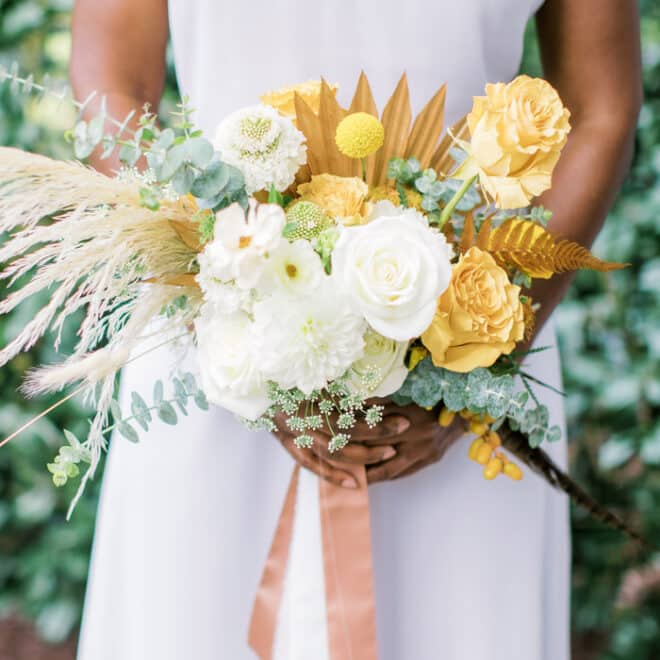 Sweet Love Blossoms Modern Bouquet NC Wedding Dress and Fashion Photo Shoot in Raleigh Blissmore