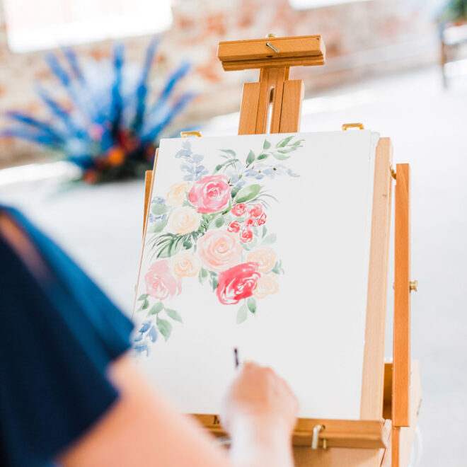Close-Up Flowers Live Painting Ashley Triggiano The Graham Mill Venue Comes to Life in Styled Shoot Robinson