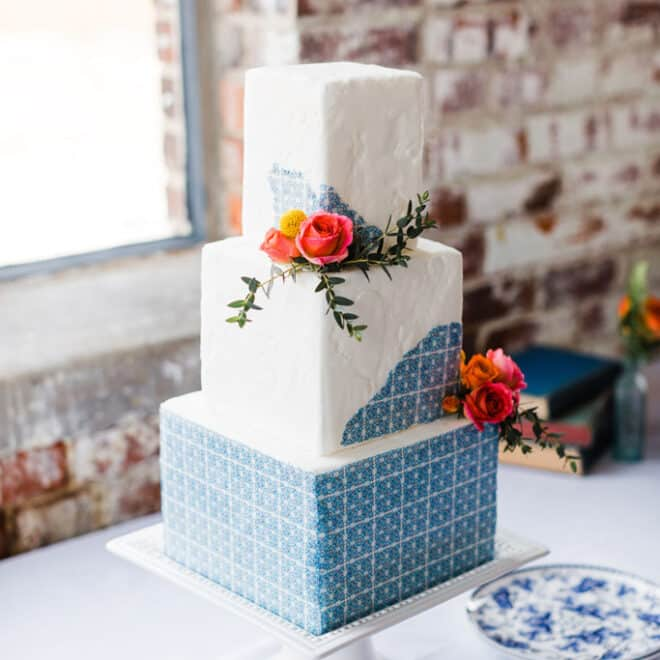 Three-Tier Mediterranean Wedding Cake Sugar Euphoria The Graham Mill Venue Comes to Life in Styled Shoot Robinson