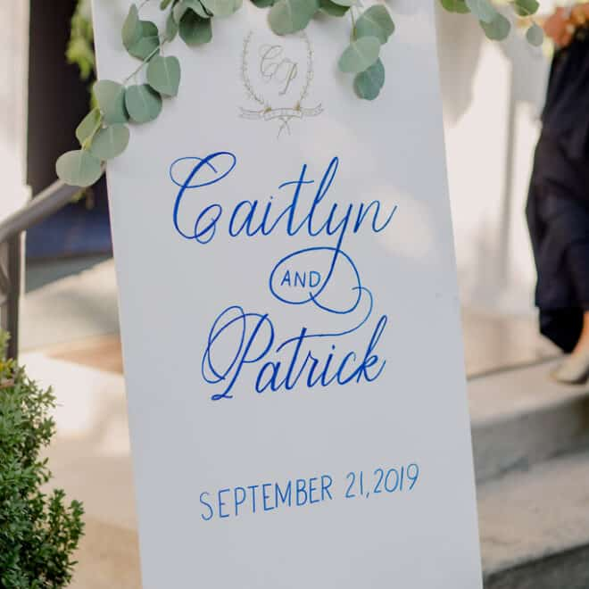 Wedding welcome sign by Mason Dixon Designs St. Mary's Chapel Wedding by Sally Oakley Weddings and Events Azul