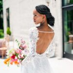 White of Raleigh Comfortable and Couture Wedding Dresses in Raleigh Back of Wedding Dress Bride Arika Jordan Photography
